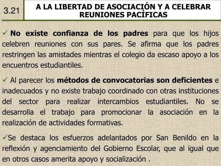 A LA LIBERTAD DE ASOCIACIÓN Y A CELEBRAR REUNIONES PACÍFICAS