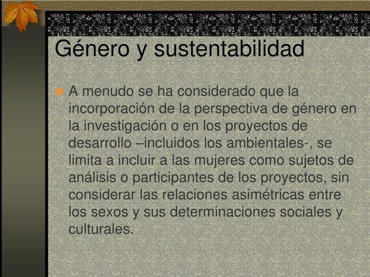 Género y sustentabilidad