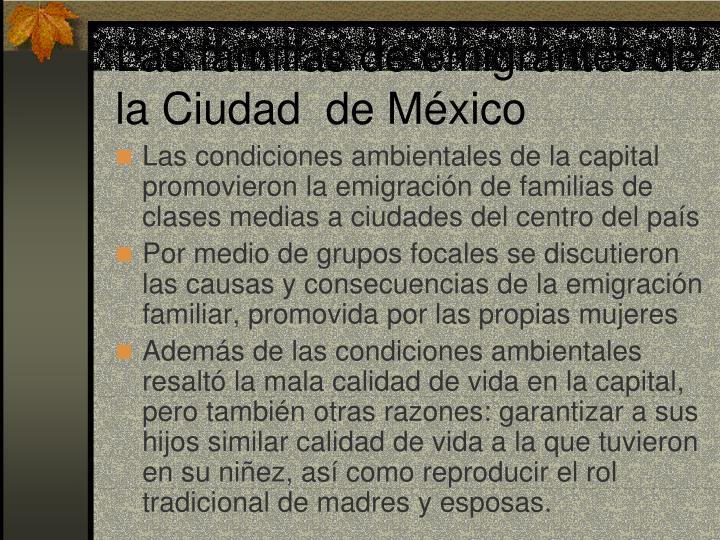 Las familias de emigrantes de la Ciudad  de México