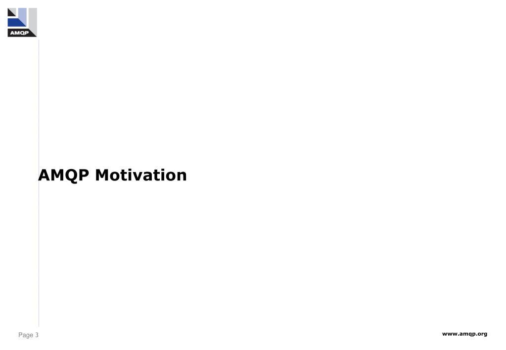 AMQP Motivation