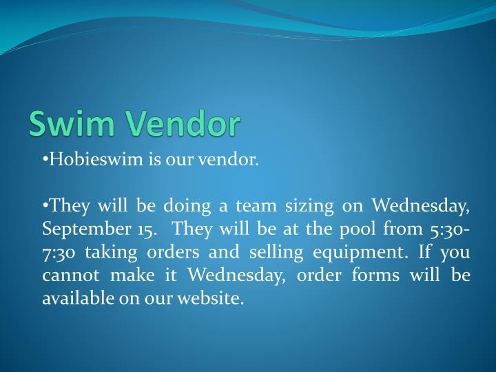 Swim Vendor