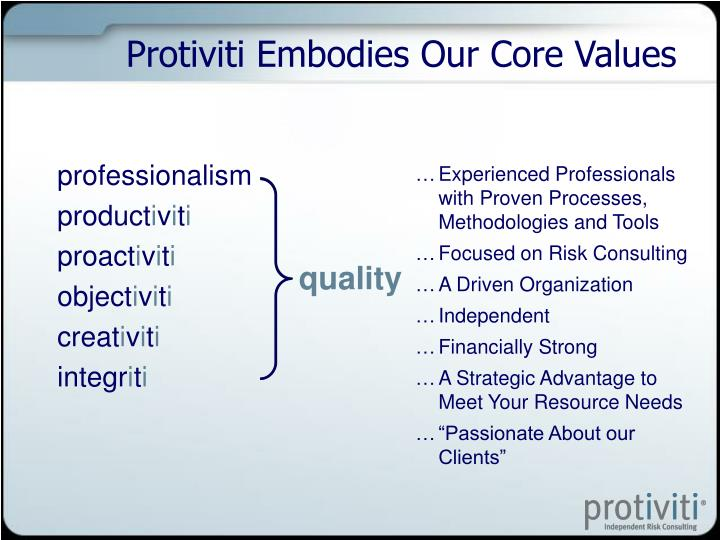 Protiviti Embodies Our Core Values