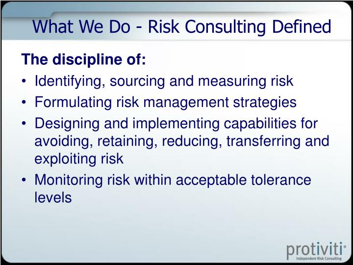 What We Do - Risk Consulting Defined