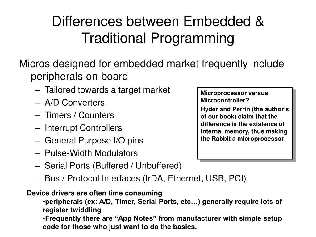 Differences between Embedded & Traditional Programming