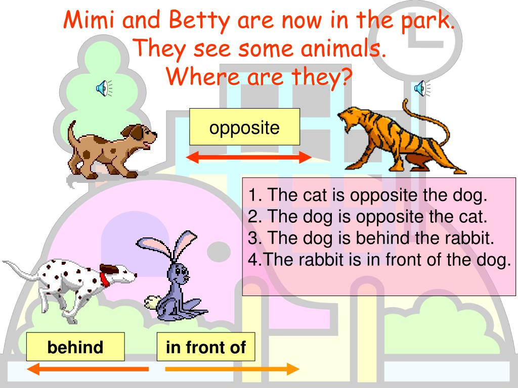 Mimi and Betty are now in the park.  They see some animals.