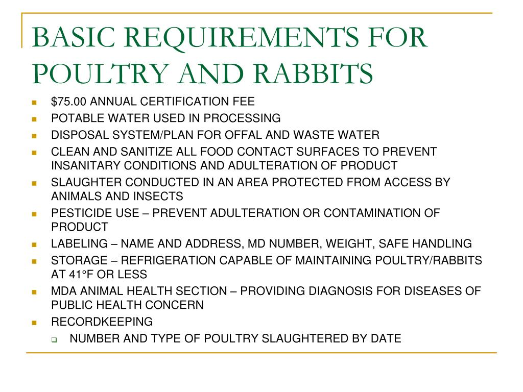 BASIC REQUIREMENTS FOR POULTRY AND RABBITS