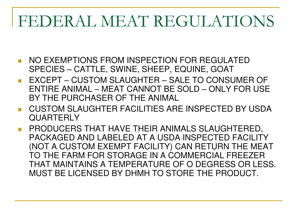 FEDERAL MEAT REGULATIONS