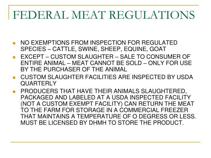 Federal meat regulations l.jpg