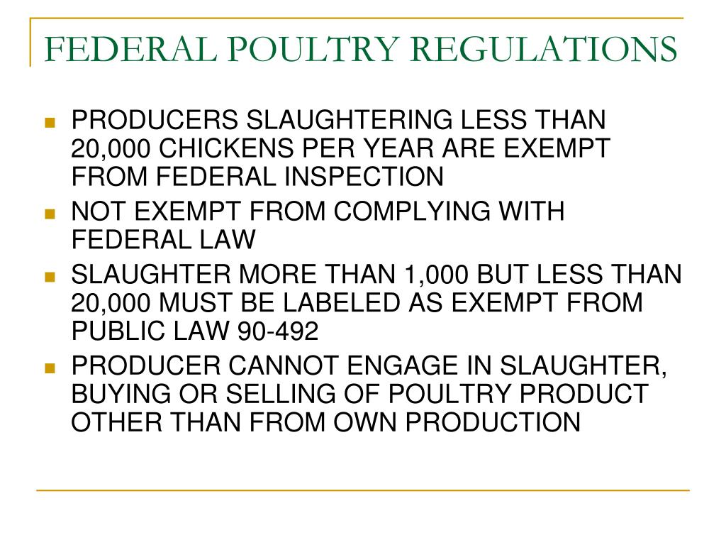 FEDERAL POULTRY REGULATIONS