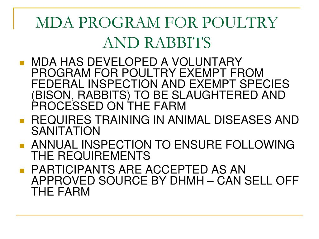 MDA PROGRAM FOR POULTRY AND RABBITS