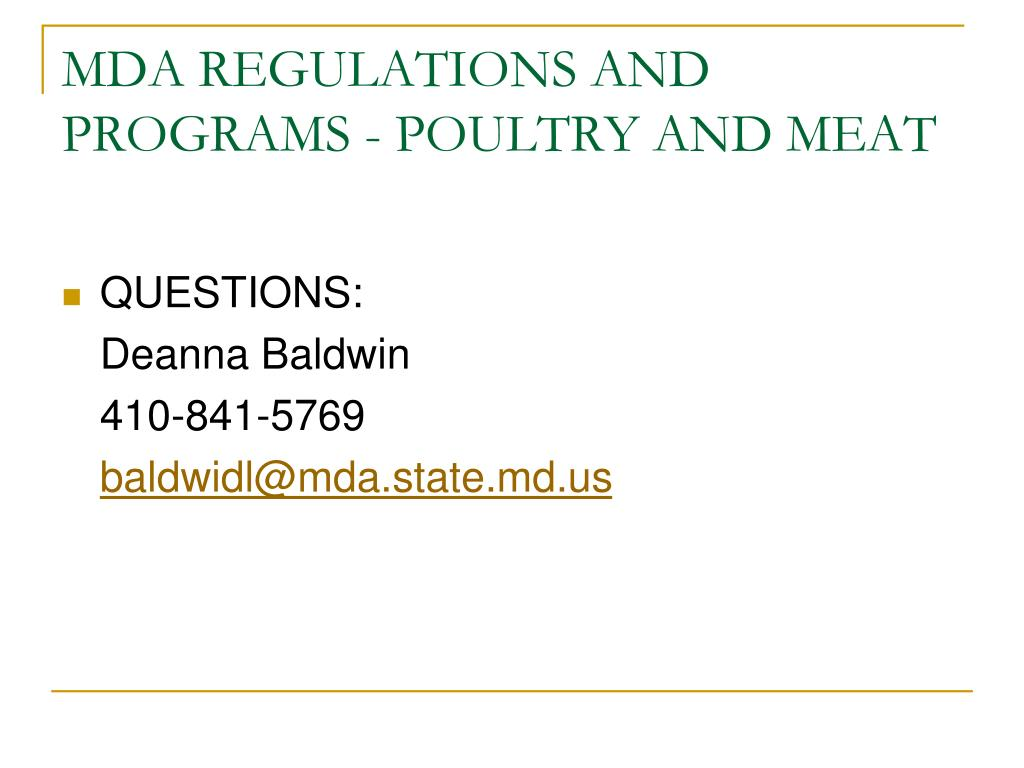 MDA REGULATIONS AND PROGRAMS - POULTRY AND MEAT
