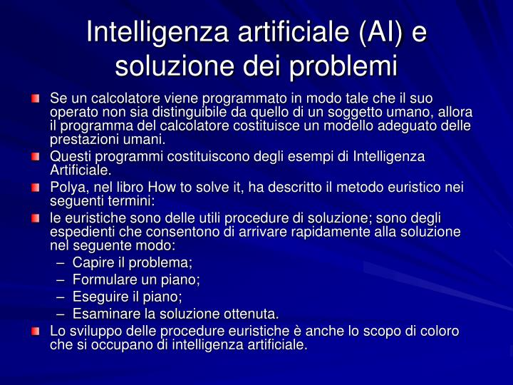 Intelligenza artificiale (AI) e soluzione dei problemi