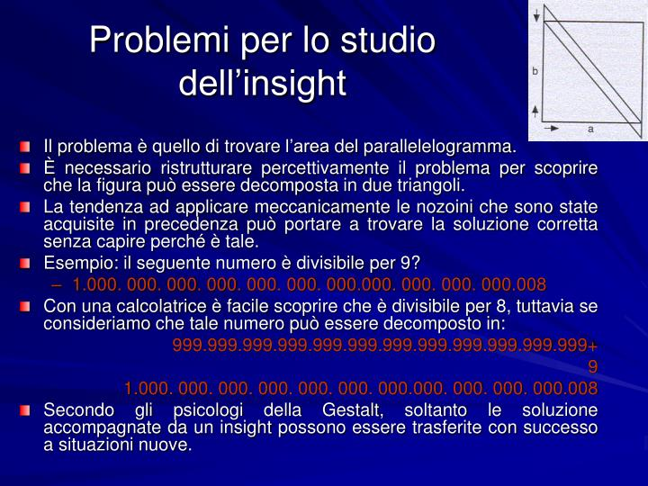 Problemi per lo studio dell'insight