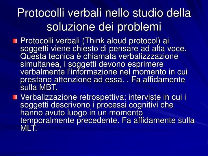 Protocolli verbali nello studio della soluzione dei problemi
