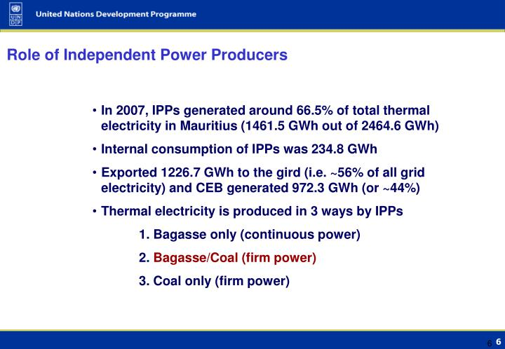Role of Independent Power Producers