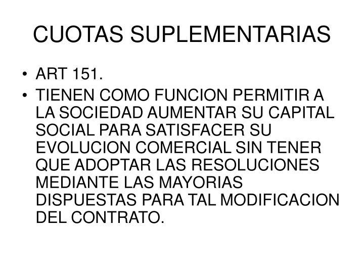 CUOTAS SUPLEMENTARIAS