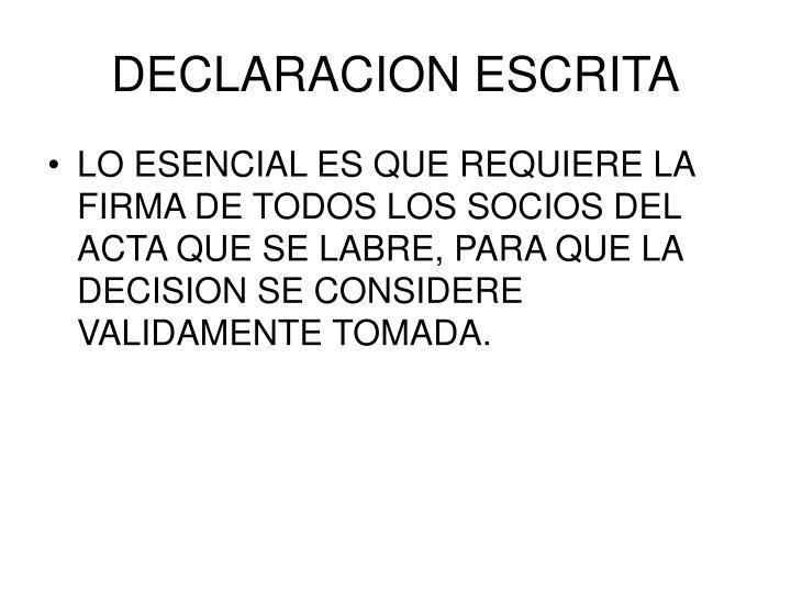 DECLARACION ESCRITA