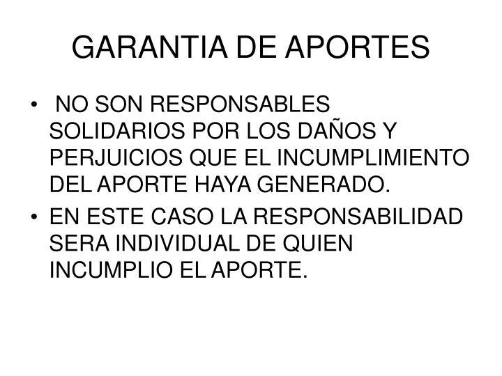GARANTIA DE APORTES