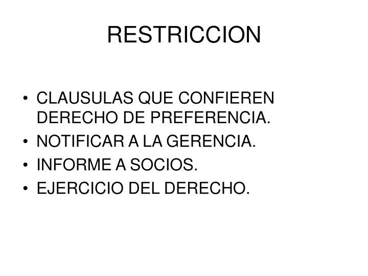 RESTRICCION
