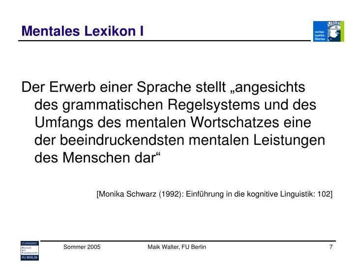 Mentales Lexikon I