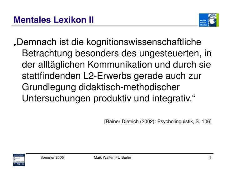 Mentales Lexikon II