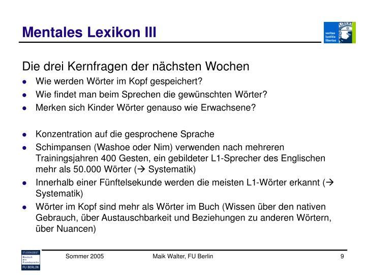 Mentales Lexikon III