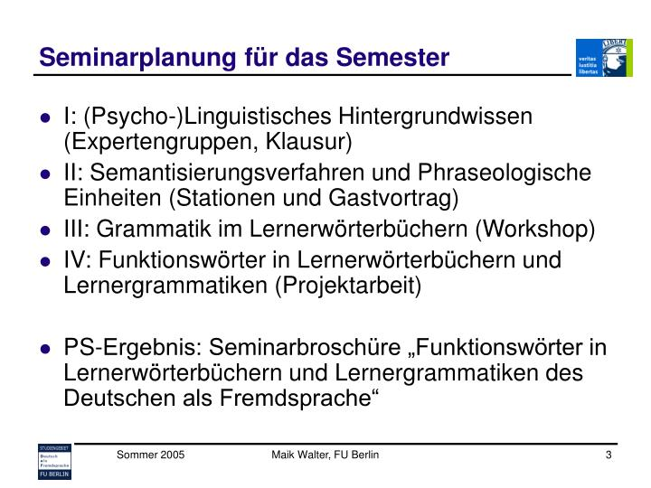 Seminarplanung für das Semester