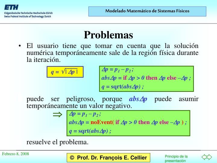 El usuario tiene que tomar en cuenta que la solución numérica temporáneamente sale de la región física durante la iteración.