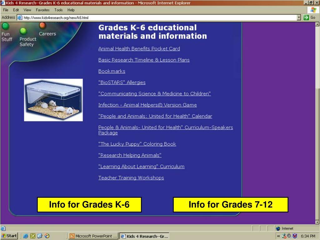 Info for Grades K-6