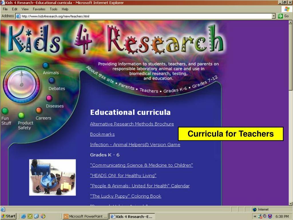 Curricula for Teachers