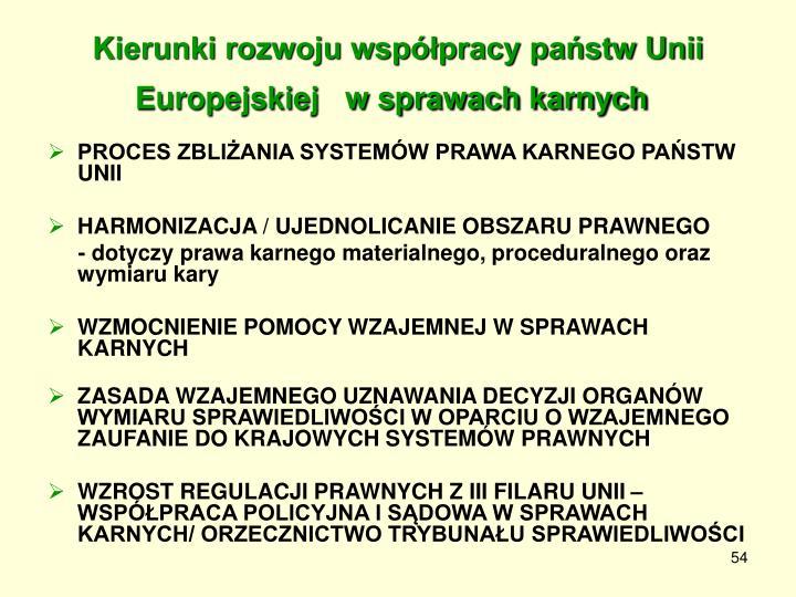 Kierunki rozwoju współpracy państw Unii Europejskiej   w sprawach karnych