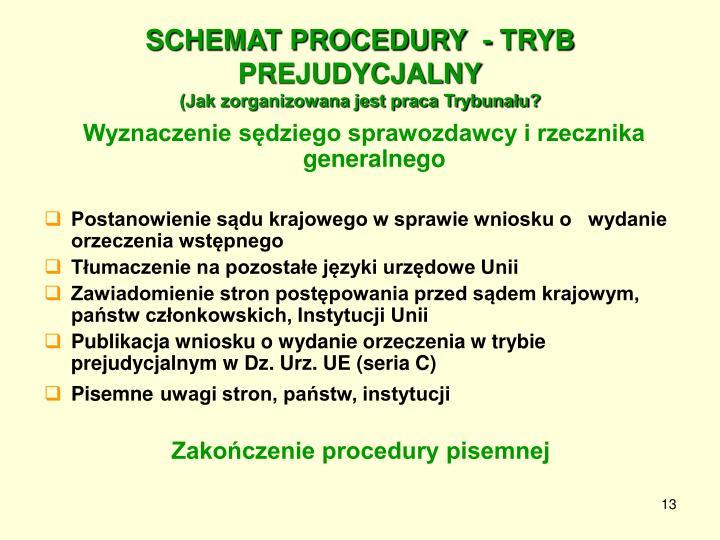 SCHEMAT PROCEDURY  - TRYB PREJUDYCJALNY