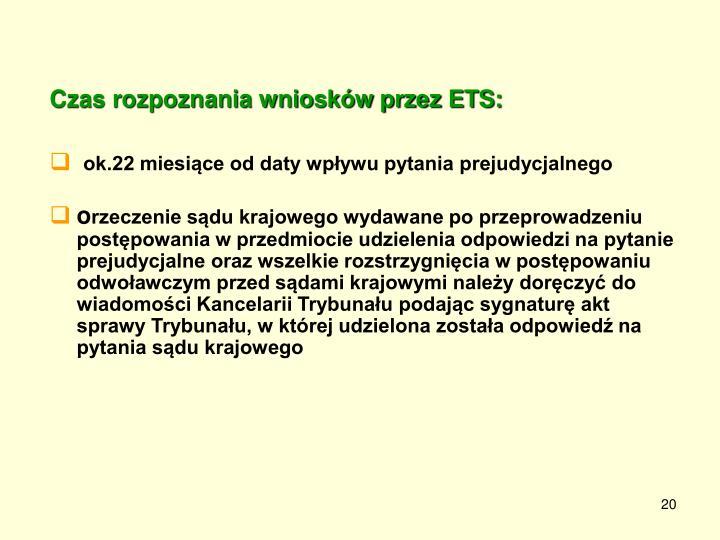 Czas rozpoznania wniosków przez ETS: