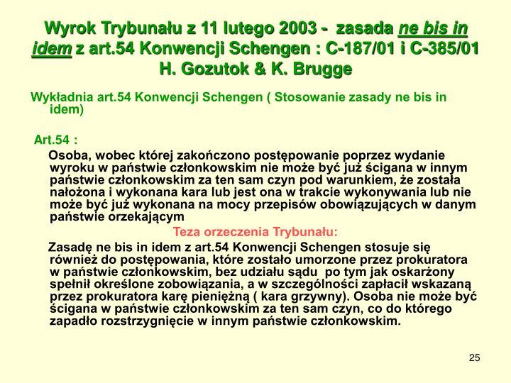 Wyrok Trybunału z 11 lutego 2003 -  zasada