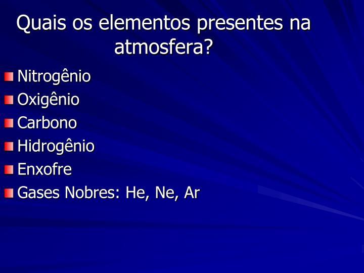 Quais os elementos presentes na atmosfera?