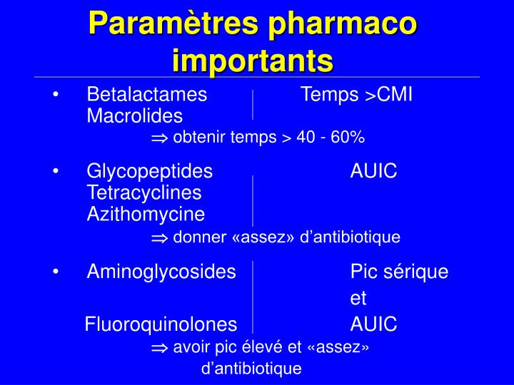 Paramètres pharmaco importants