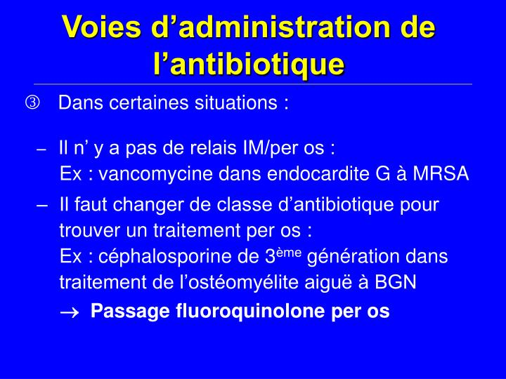 Voies d'administration de l'antibiotique