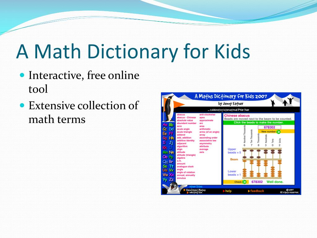 A Math Dictionary for Kids