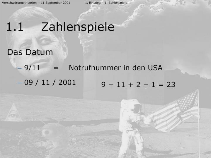 Verschwörungstheorien – 11.September 20011. Einstieg – 1. Zahlenspiele