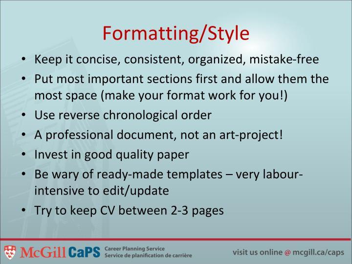 Formatting/Style