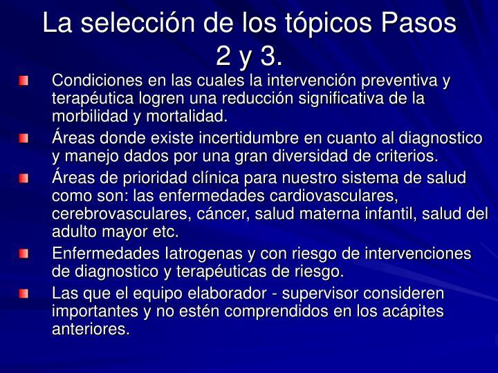 La selección de los tópicos Pasos 2 y 3.