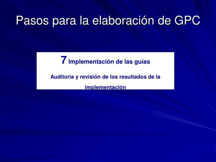 Pasos para la elaboración de GPC