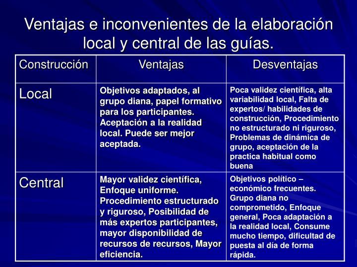Ventajas e inconvenientes de la elaboración local y central de las guías.