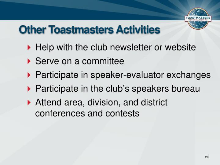 Other Toastmasters Activities