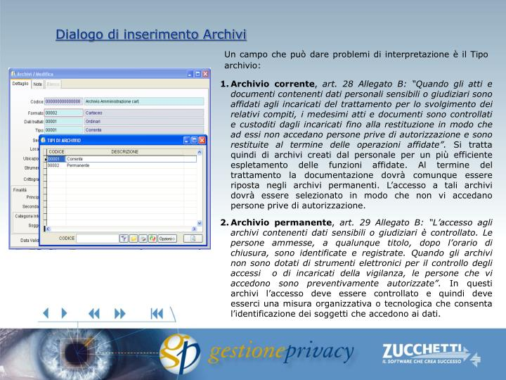 Dialogo di inserimento Archivi