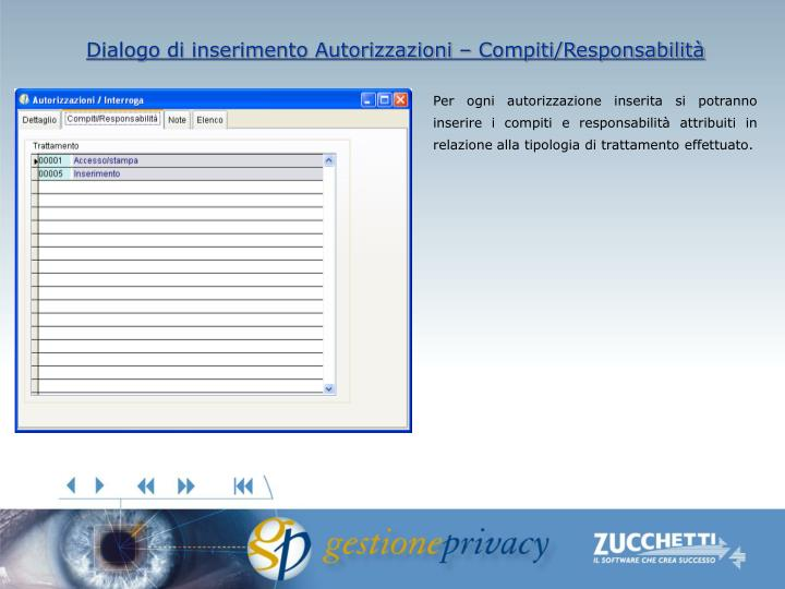 Dialogo di inserimento Autorizzazioni – Compiti/Responsabilità