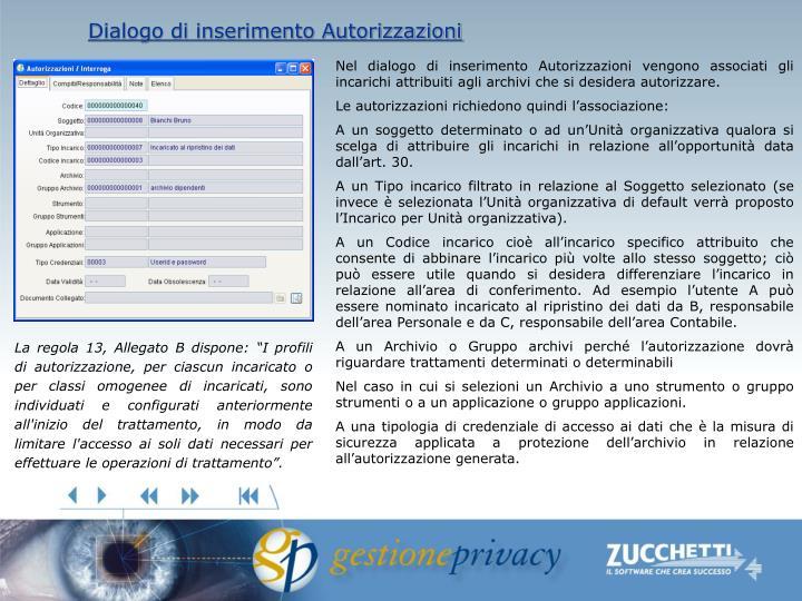 Dialogo di inserimento Autorizzazioni
