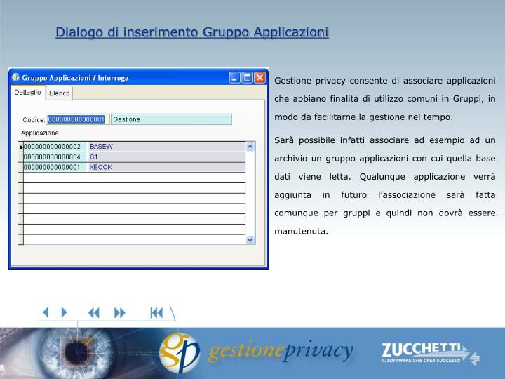 Dialogo di inserimento Gruppo Applicazioni
