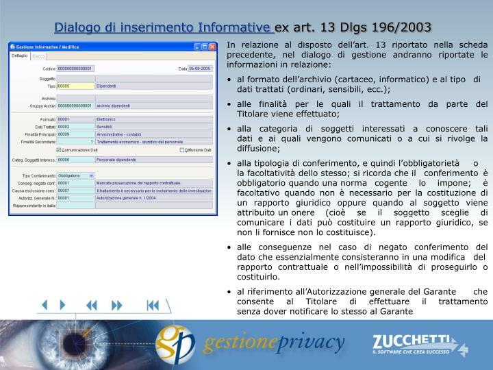 Dialogo di inserimento Informative