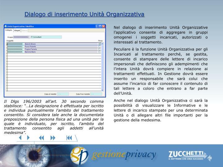 Dialogo di inserimento Unità Organizzativa